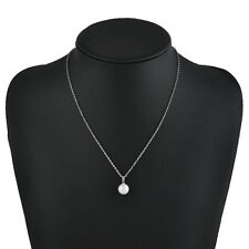 Chic Women Elegant Round White/Black Pearl Pendant Necklace Silver Chain Jewelry