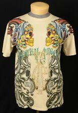 Christian Audigier Mens Tee Shirt Size Large Beige Cotton Embellished Skulls USA