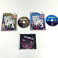 Nintendo Wii Just Dance 2 3 and 4 Video Game Lot of 3, No manuals,1 Generic case