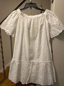 Rebellion Women's White Lace Dress Boat Neck Nell Sleeve Drop Waist Lined Size S