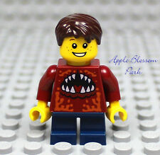 NEW Lego City MINIFIG BOY w/Dark Red Monster Torso/Short Blue Legs & Brown Hair