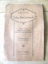 1927 MUSIC PROGRAM IRISH TENOR JOHN McCORMACK & LAURI KENNEDY IN DAVENPORT IOWA