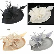 New Luxury Hair Clip Feather Clip On Fascinator Prom Wedding Ascot Race Party UK