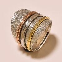 "Brass /& 925 Sterling Silver Wide Band Meditation Ring Spinner Size-11/"" AGJ-1170"