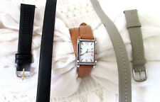 Stella & Dot Double Saddle Pyramid Watch, Taupe Double Band & Black Double Band