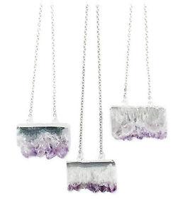 Raw Amethyst Quartz Agate Slice Necklace-Crystal-Vintage Healing Jewellery-Stone