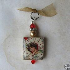 Queen of Hearts Pendant Charm VTG Art Valentine's Day Poker Game Playing Cards