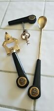 Vintage Barware Tools Gold Plated Black Bakelite 3 Pc Set. This is a great set.