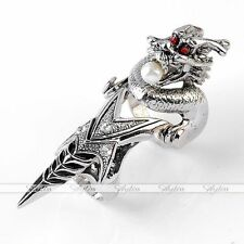1pc Silvery Dragon Pearl Armor Spike Knuckle Full Finger Ring Punk Gothic Cool