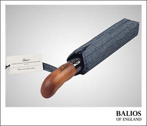 Herringbone Balios Compact Travel Umbrella Real Wood Handle Auto Open Close UK