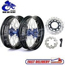 "17"" & 17 Yamaha Supermotard Wheels Set Blue Hubs Rims Rotors YZ250F YZ450F 14 15"