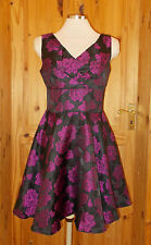 black purple floral roses satin party 50's retro evening mini dress BNWT 10 38