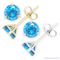 Faux Blue Topaz Round Cut CZ Crystal .925 Sterling Silver Martini Stud Earrings