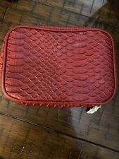 Nordstrom Cosmetic Bag Christmas Red Travel Vacay Reptile Texture Zip Around