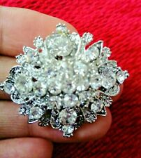 Silver Crystal Flower  BROOCH Pin Broach Badge Diamante Rhinestone Corsage