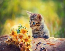 METAL FRIDGE MAGNET Gray Black Gold Tabby Cat Looking At Yellow Flowers Cats