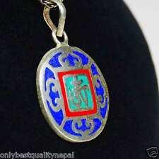 Mandala colorato rosso blu Ciondolo Amuleto turchese Dharma Nepal Tibet Ottone