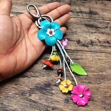 New Blue Genuine Leather KeyRing Keychain Handmade Flower Charm Purse Floral