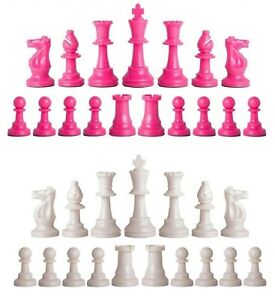 Staunton Triple Weighted Chess Pieces – Full Set 34 Pink & White - 4 Queens
