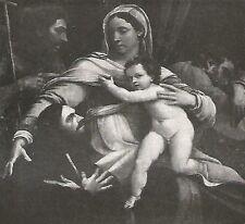D0173 Sebastiano del Piombo - Sacra Famiglia - Stampa d'epoca - 1929 old print