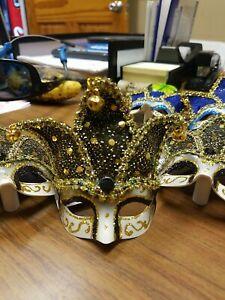 Black and gold Mardi Gras Ornament/magnet; Mask Magnet, black mask ornament