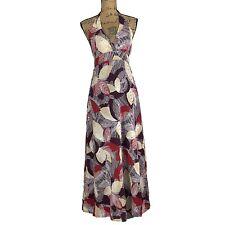BCBG Max Azria Maxi Dress XS Purple Red Beige Leaf Sequin Long Sequin Full Skirt