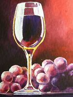 Watercolor Painting Red Wine Drink Glass Bottle Bar Grapes ACEO Art Auction