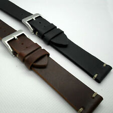 Vintage Style Calf Leather WATCH STRAP 18 20 22mm Black Brown Smart Band New UK