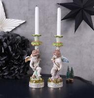 KERZENLEUCHTER 2er Set BAROCK PORZELLAN ENGEL Leuchter Kerzenhalter Amor Antik