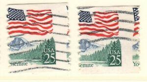 US EFO Scott #2280 25c Flag over Yosemite coil two singles  Major Misperf!