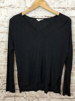 Madewell anthem shirt womens XS black long sleeve vneck slouchy slub M3