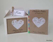 Personalizzata Bambino A6 WEDDING attività Pack & BOX VINTAGE Heart & Perle Regalo