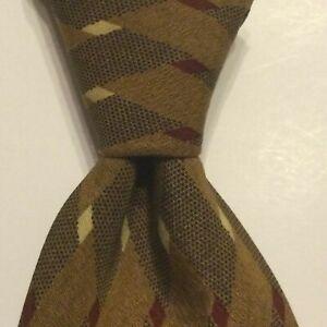 LUCIANO BARBERA Mens 100% Silk Necktie ITALY Designer Geometric Brown/Red EUC