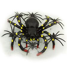 Black Plastic Toy Spiders Stretchable Web Haunted House Halloween Decor 10 pcs