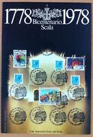 Francobolli Italia 1978 - 200 anni Scala - diversi valori - annulli figurati