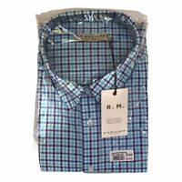 New RM WILLIAMS Men's Size 3XB Hervey Long Sleeve Shirt Blue White Check RRP$109