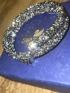 *NEW* SWAROVSKI Crystal Dust Double Silver Stainless Steel Bangle Bracelet Small
