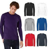 B&C Collection Men's Long Sleeve T-Shirt TU07T - Adult Casual Slim Fit Plain Tee