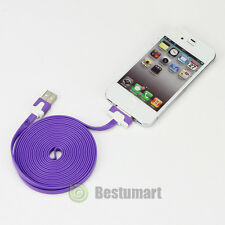 X2 Purple 3M 10FT Noodle Flat USB Data Sync Charger Cable for iPhone 4 4s 3 iPod