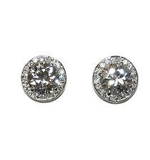 Huge Round Halo Cubic Zirconia Rhodium Stud earrings-15MM OF BLING-4 LEFT