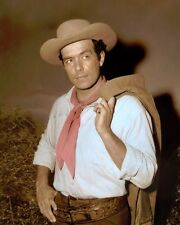 "PERNELL ROBERTS BONANZA 1960S ADAM CARTWRIGHT 8x10"" HAND COLOR TINTED PHOTOGRAPH"