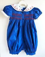 Vintage Baby Girl Romper Hand Smocked 9 months Blue Sailor Jeffrey Ohrenstein