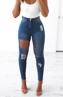 WAKEE BLUE ULTRA HIGH RISE SKINNY LEG JEANS WITH EXTREME CUTOUT. SIZE 6-16