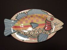 New Mackenzie Childs Blue Fish Platter Dish Wall Hanging