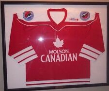 """~Gordie Howe Signed Molson Canadian w/ Patches Hockey Jersey Framed 33x41"""" HOF~"""