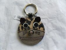 NWT Coach 62982 Cat Motif Suede Fur Turnlock Zipper Leather Key Ring Key Chain B