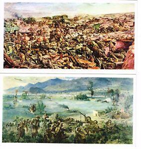 2 x LARGE VINTAGE 'AUSTRALIAN WAR MEMORIAL' PAINTINGS POST CARDS 19x10cm