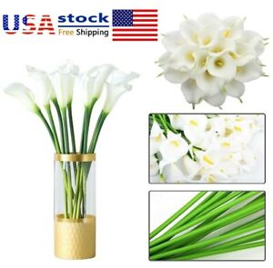 Artificial PU Calla Lily Fake Flowers  Lifelike Real Touch Wedding Home Decor US