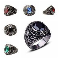 Men's Punk Gothic Titanium Steel Black Onyx Gemstone Band Finger Ring Jewelry