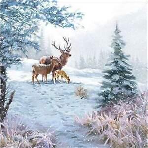 4 individual stag winter scene decoupage napkins, mixed media, scrapbooking